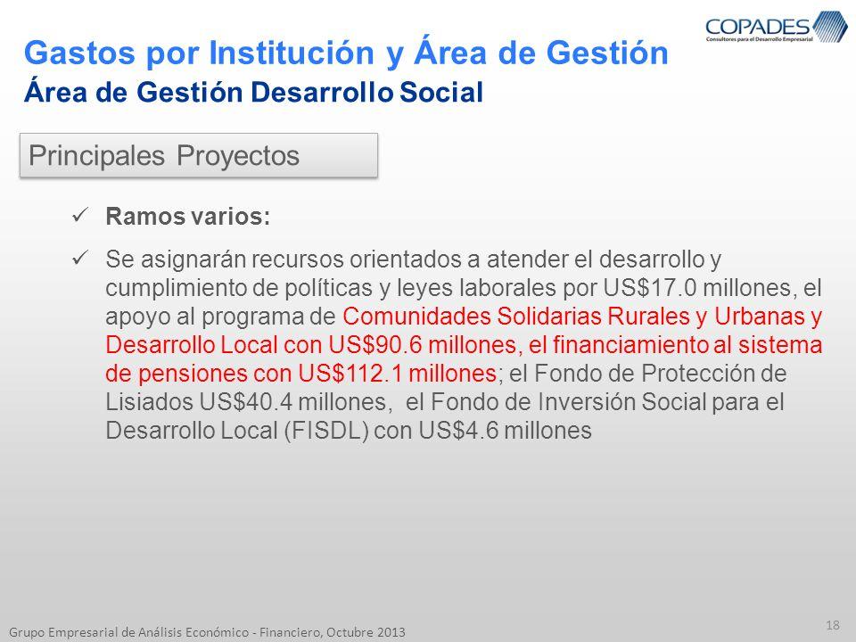 Gastos por Institución y Área de Gestión 18 Grupo Empresarial de Análisis Económico - Financiero, Octubre 2013 Área de Gestión Desarrollo Social Ramos