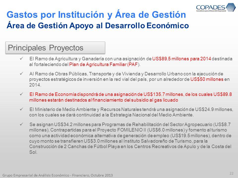 Gastos por Institución y Área de Gestión 22 Grupo Empresarial de Análisis Económico - Financiero, Octubre 2013 Área de Gestión Apoyo al Desarrollo Eco