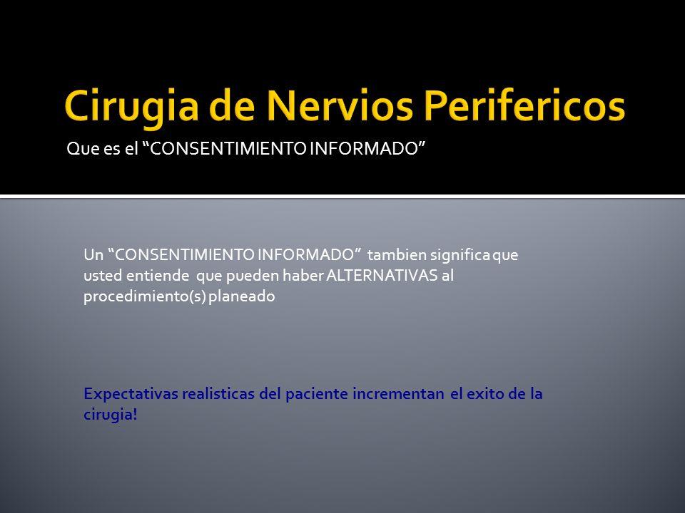 Que es el CONSENTIMIENTO INFORMADO Un CONSENTIMIENTO INFORMADO tambien significa que usted entiende que pueden haber ALTERNATIVAS al procedimiento(s)