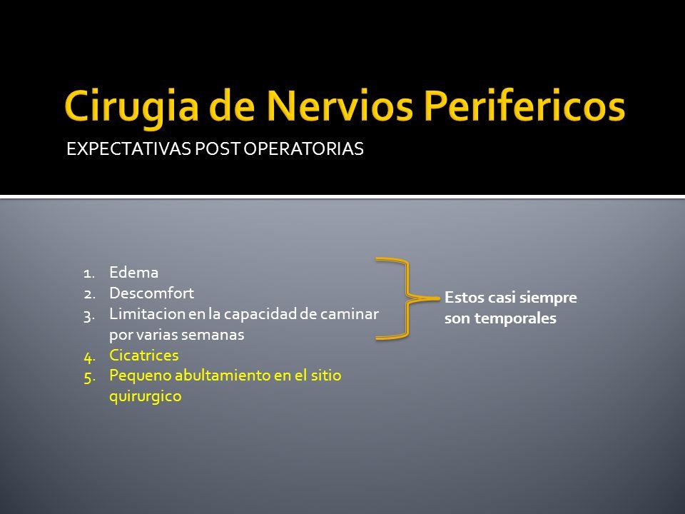 Cirugia de Nervios Perifericos es diferente en cada paciente.