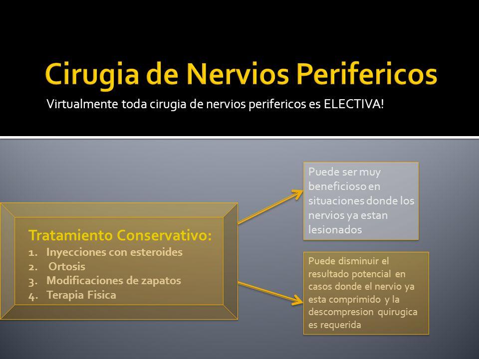 Virtualmente toda cirugia de nervios perifericos es ELECTIVA! Tratamiento Conservativo: 1.Inyecciones con esteroides 2. Ortosis 3.Modificaciones de za