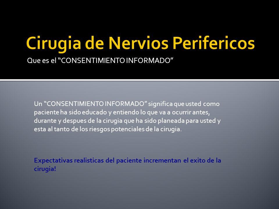 Que es el CONSENTIMIENTO INFORMADO Un CONSENTIMIENTO INFORMADO tambien significa que usted entiende que pueden haber ALTERNATIVAS al procedimiento(s) planeado Expectativas realisticas del paciente incrementan el exito de la cirugia!