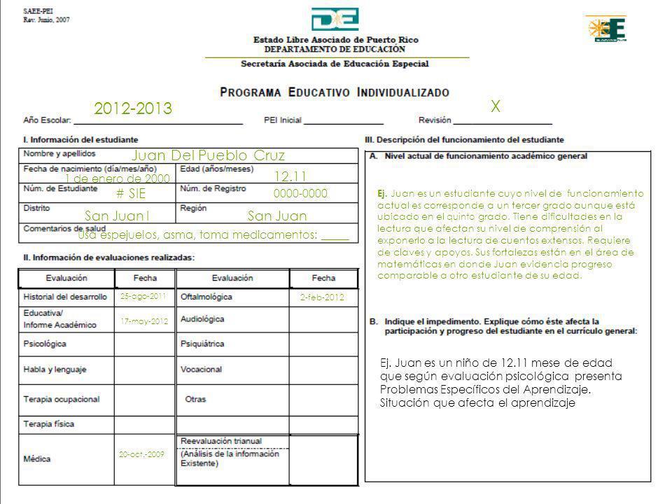 2012-2013 Juan Del Pueblo Cruz X 1 de enero de 2000 12.11 # SIE 0000-0000 San Juan ISan Juan Usa espejuelos, asma, toma medicamentos: _____ 25-ago-201