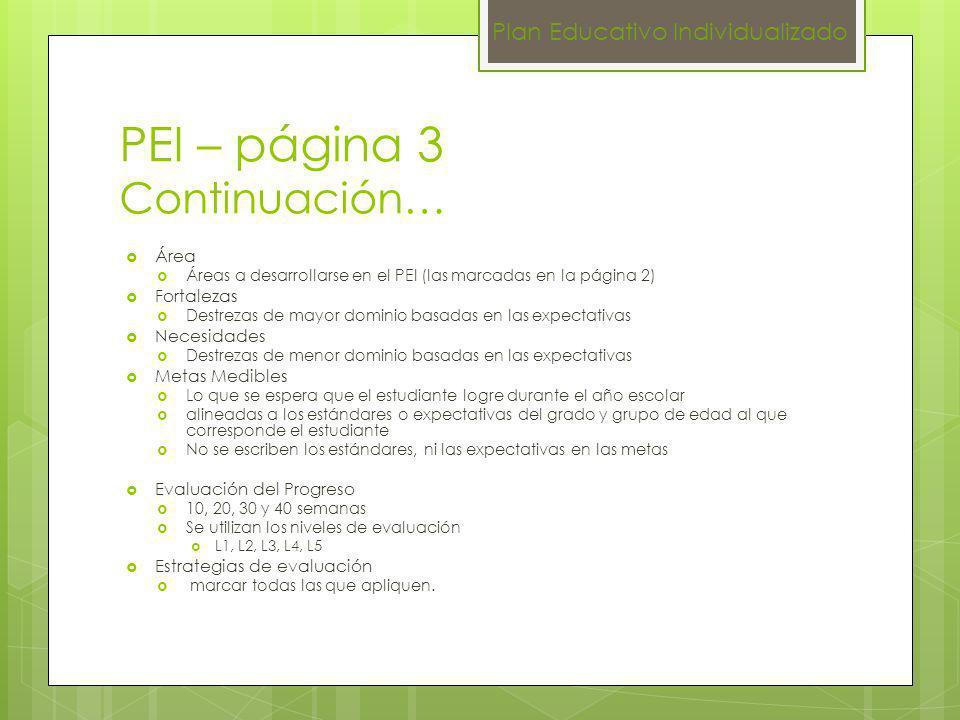 PEI – página 3 Continuación… Área Áreas a desarrollarse en el PEI (las marcadas en la página 2) Fortalezas Destrezas de mayor dominio basadas en las e