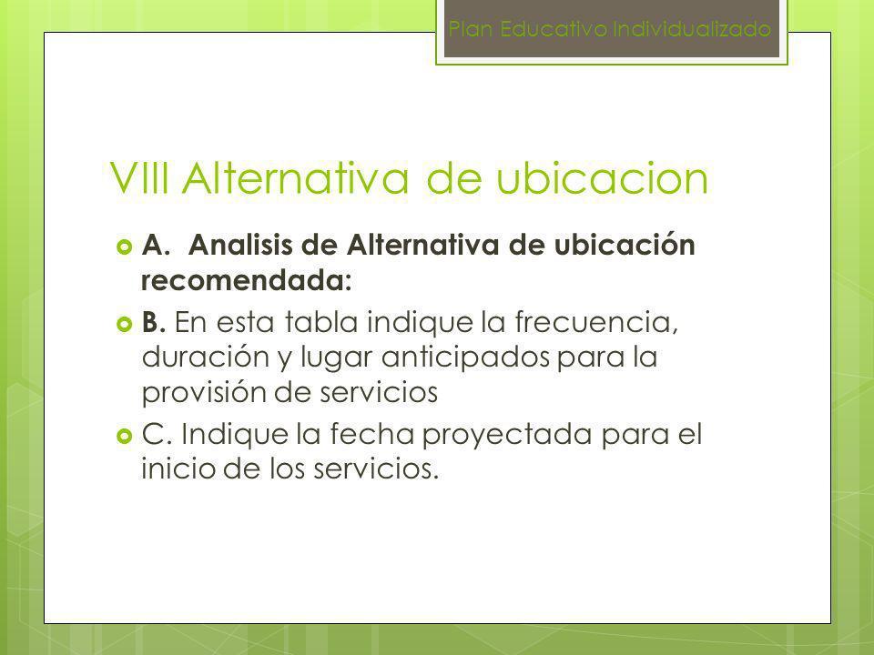 VIII Alternativa de ubicacion A. Analisis de Alternativa de ubicación recomendada: B. En esta tabla indique la frecuencia, duración y lugar anticipado