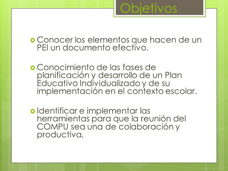 Objetivos Conocer los elementos que hacen de un PEI un documento efectivo. Conocimiento de las fases de planificación y desarrollo de un Plan Educativ