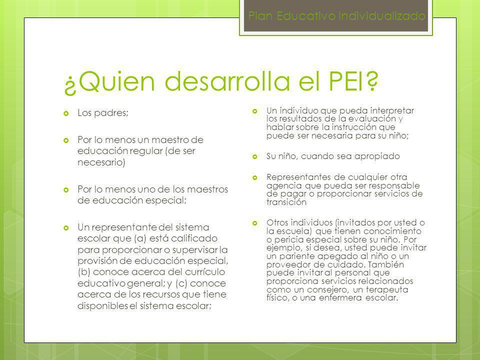 Datos importantes para la redacción del PEI Se completa en todas sus partes.