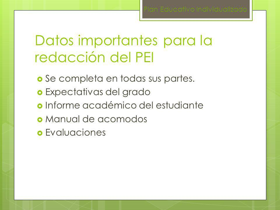 Datos importantes para la redacción del PEI Se completa en todas sus partes. Expectativas del grado Informe académico del estudiante Manual de acomodo