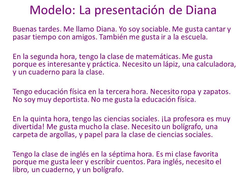 Modelo: La presentación de Diana Buenas tardes. Me llamo Diana.