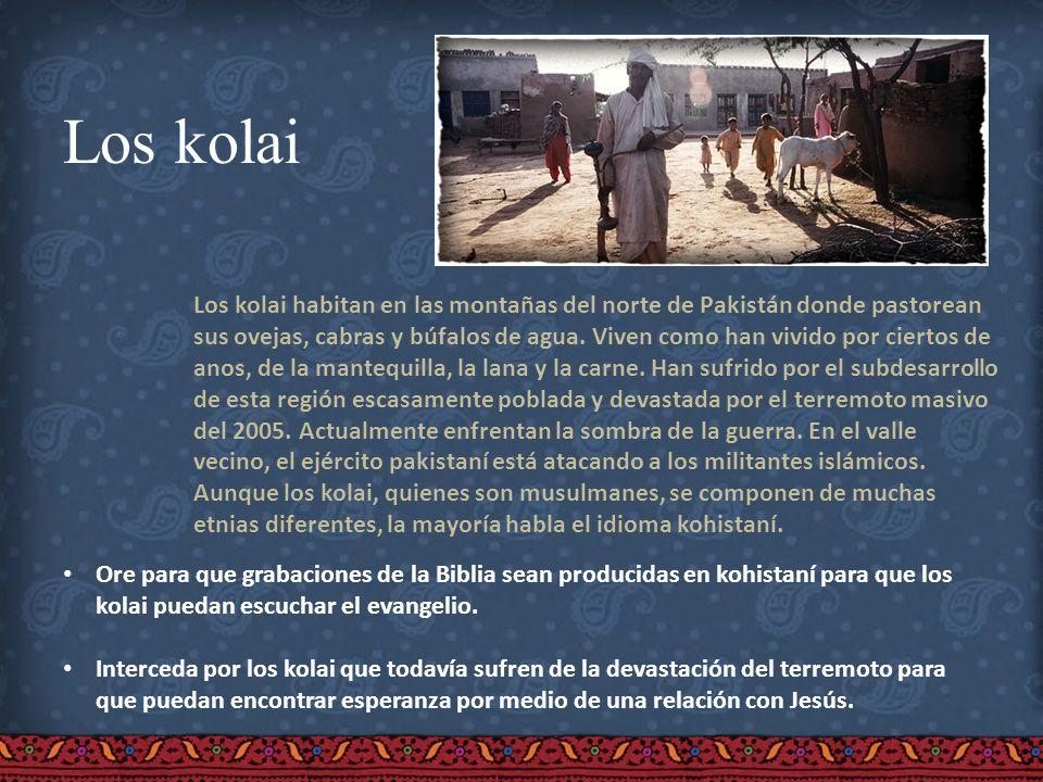 Los kolai Los kolai habitan en las montañas del norte de Pakistán donde pastorean sus ovejas, cabras y búfalos de agua. Viven como han vivido por cier