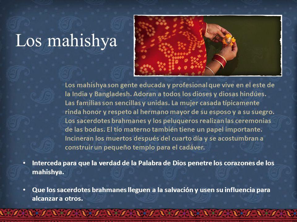 Los mahishya Los mahishya son gente educada y profesional que vive en el este de la India y Bangladesh. Adoran a todos los dioses y diosas hindúes. La
