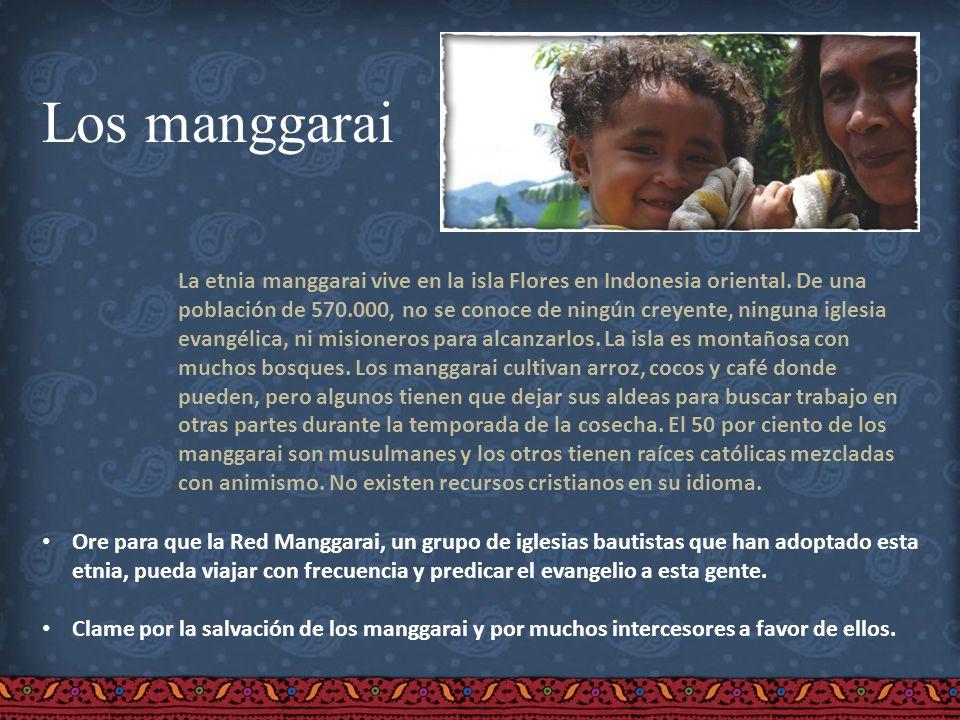 Los manggarai La etnia manggarai vive en la isla Flores en Indonesia oriental. De una población de 570.000, no se conoce de ningún creyente, ninguna i