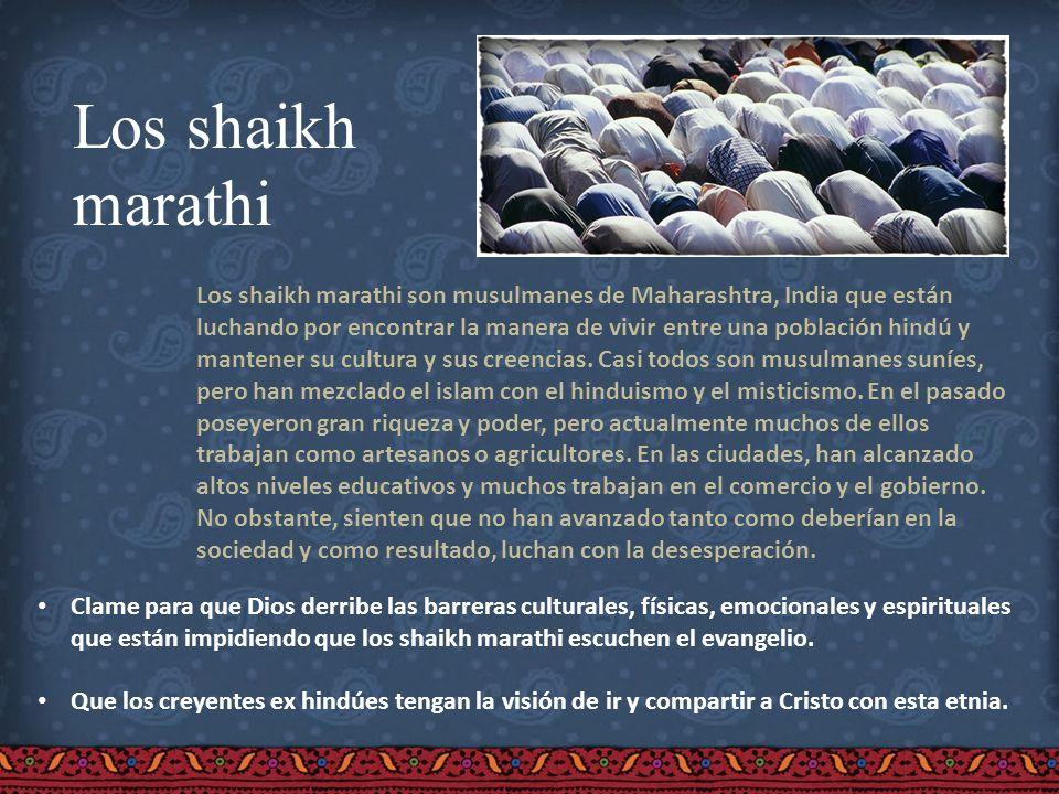 Los shaikh marathi Los shaikh marathi son musulmanes de Maharashtra, India que están luchando por encontrar la manera de vivir entre una población hin
