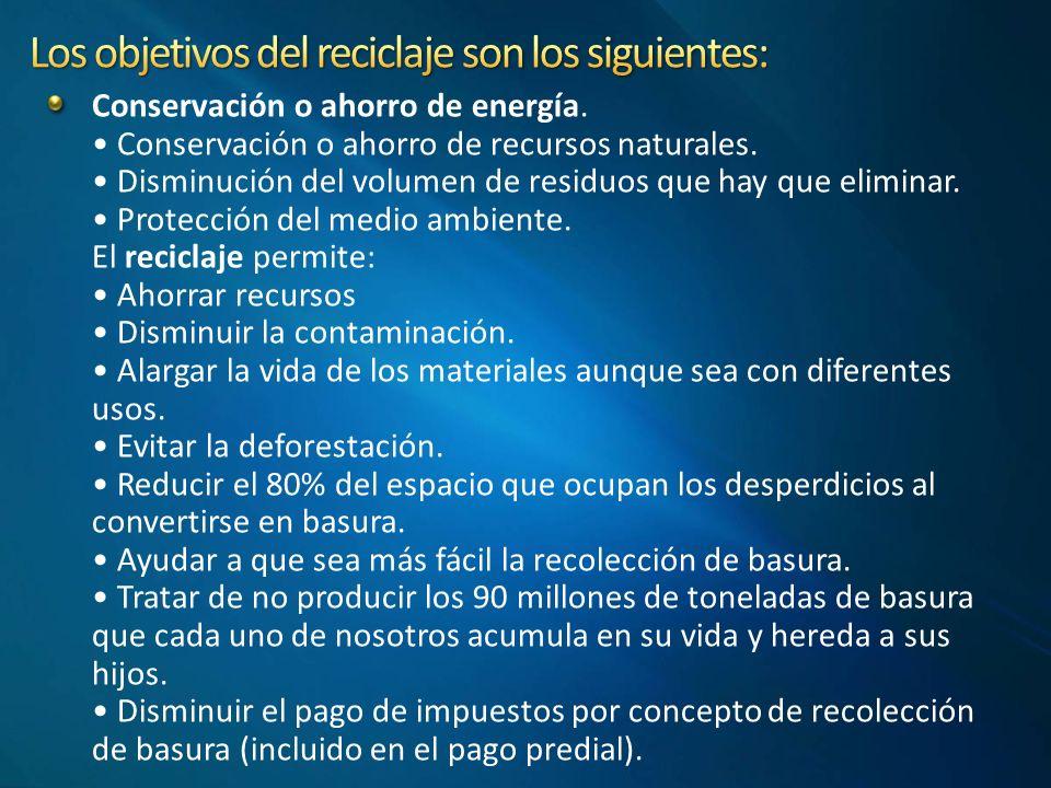 Conservación o ahorro de energía.Conservación o ahorro de recursos naturales.