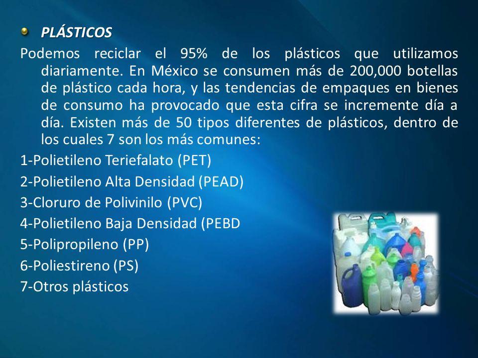 PLÁSTICOS Podemos reciclar el 95% de los plásticos que utilizamos diariamente.
