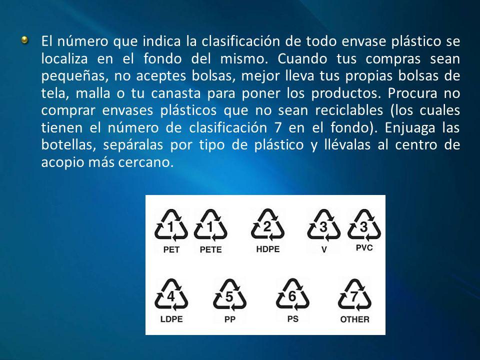 El número que indica la clasificación de todo envase plástico se localiza en el fondo del mismo.