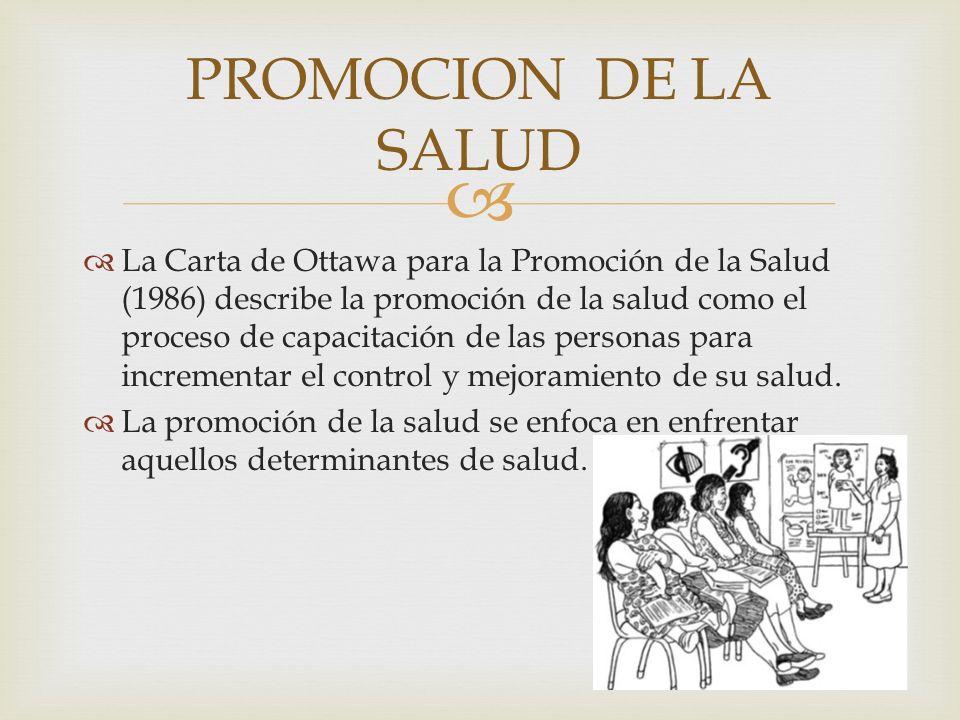 La Carta de Ottawa para la Promoción de la Salud (1986) describe la promoción de la salud como el proceso de capacitación de las personas para increme