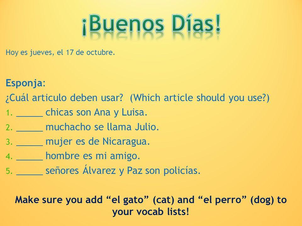 Hoy es jueves, el 17 de octubre. Esponja: ¿Cuál articulo deben usar? (Which article should you use?) 1. _____ chicas son Ana y Luisa. 2. _____ muchach