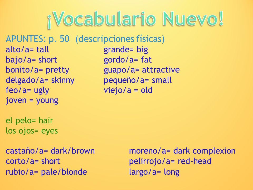 APUNTES: p. 50 (descripciones físicas) alto/a= tallgrande= big bajo/a= shortgordo/a= fat bonito/a= prettyguapo/a= attractive delgado/a= skinnypequeño/