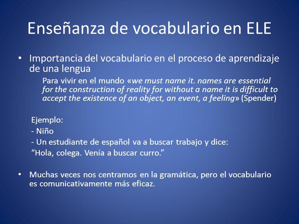 Enseñanza de vocabulario en ELE Importancia del vocabulario en el proceso de aprendizaje de una lengua Para vivir en el mundo «we must name it. names