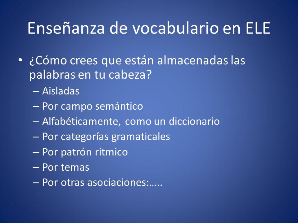 Enseñanza de vocabulario en ELE ¿Cómo crees que están almacenadas las palabras en tu cabeza? – Aisladas – Por campo semántico – Alfabéticamente, como
