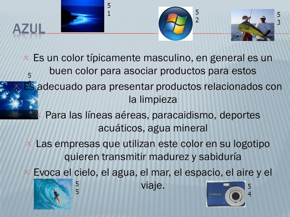 Es un color típicamente masculino, en general es un buen color para asociar productos para estos Es adecuado para presentar productos relacionados con