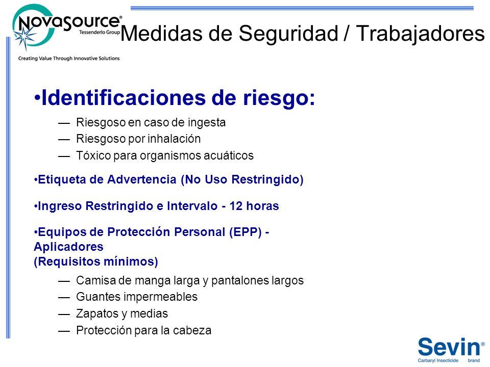 Medidas de Seguridad / Trabajadores Identificaciones de riesgo: Riesgoso en caso de ingesta Riesgoso por inhalación Tóxico para organismos acuáticos E