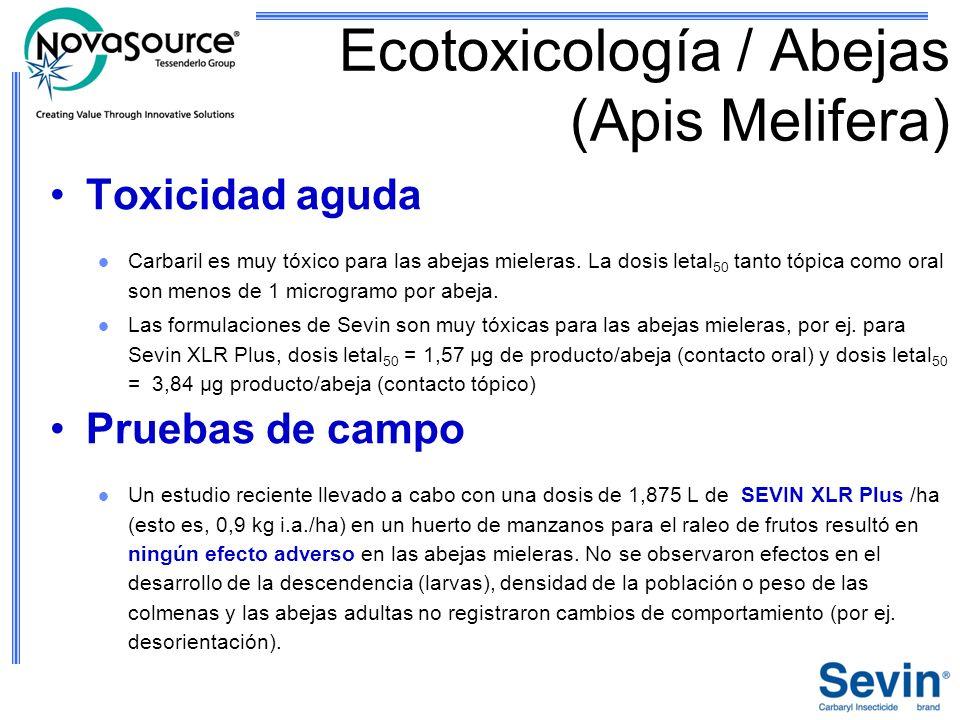 Ecotoxicología / Abejas (Apis Melifera) Toxicidad aguda Carbaril es muy tóxico para las abejas mieleras. La dosis letal 50 tanto tópica como oral son