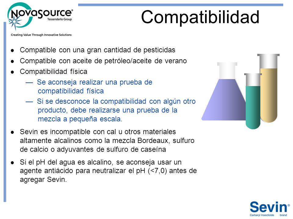 Compatibilidad Compatible con una gran cantidad de pesticidas Compatible con aceite de petróleo/aceite de verano Compatibilidad física Se aconseja rea