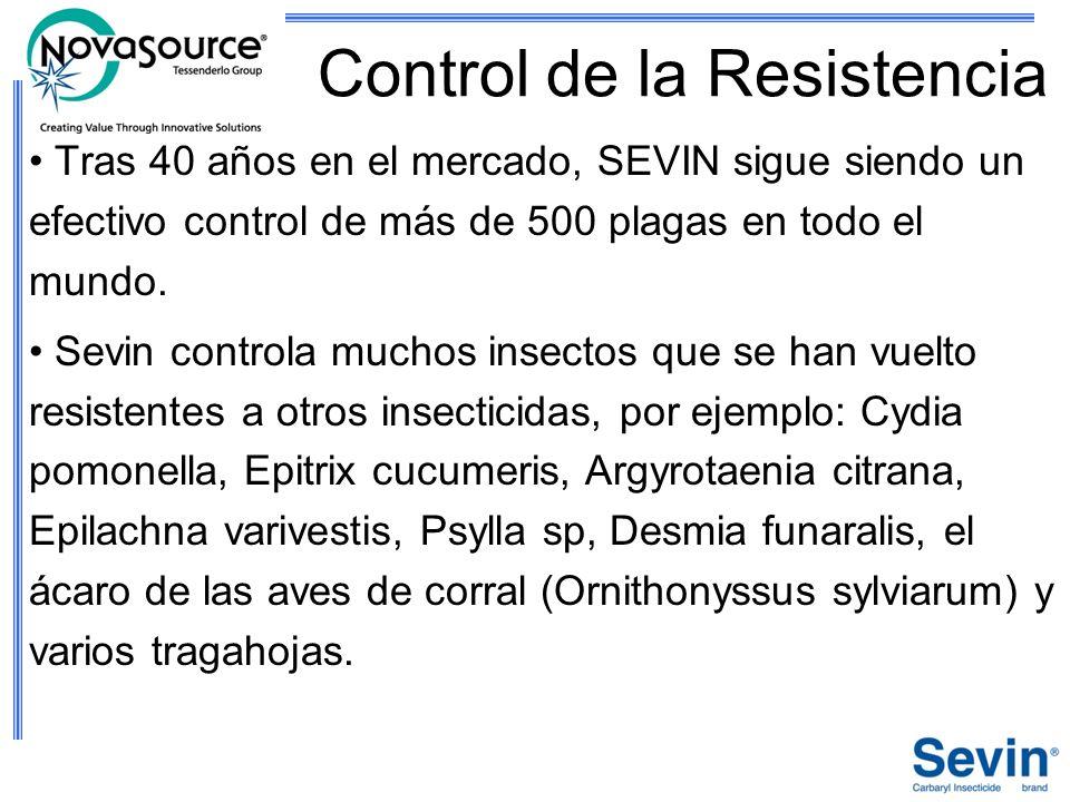 Control de la Resistencia Tras 40 años en el mercado, SEVIN sigue siendo un efectivo control de más de 500 plagas en todo el mundo. Sevin controla muc