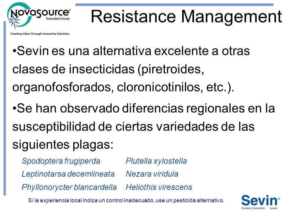 Sevin es una alternativa excelente a otras clases de insecticidas (piretroides, organofosforados, cloronicotinilos, etc.). Se han observado diferencia