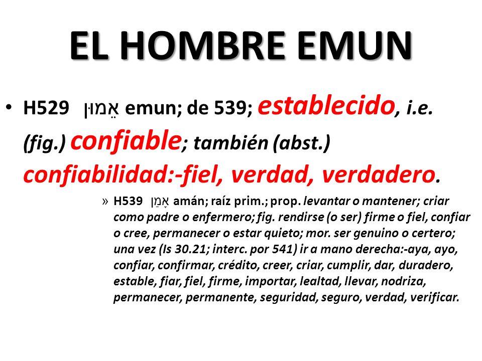 EL HOMBRE EMUN H529 אֵמוּן emun; de 539; establecido, i.e.