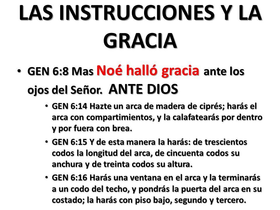 LAS INSTRUCCIONES Y LA GRACIA GEN 6:8 Mas Noé halló gracia ante los ojos del Señor.