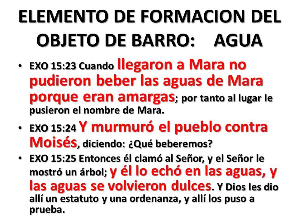ELEMENTO DE FORMACION DEL OBJETO DE BARRO: AGUA EXO 15:23 Cuando llegaron a Mara no pudieron beber las aguas de Mara porque eran amargas ; por tanto al lugar le pusieron el nombre de Mara.