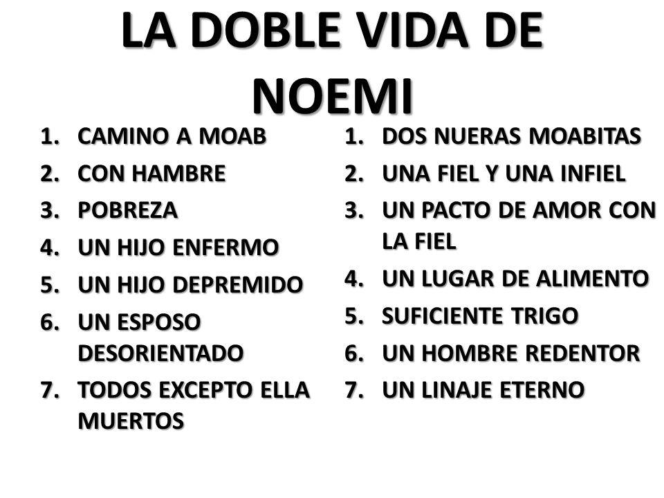 LA DOBLE VIDA DE NOEMI 1.CAMINO A MOAB 2.CON HAMBRE 3.POBREZA 4.UN HIJO ENFERMO 5.UN HIJO DEPREMIDO 6.UN ESPOSO DESORIENTADO 7.TODOS EXCEPTO ELLA MUERTOS 1.DOS NUERAS MOABITAS 2.UNA FIEL Y UNA INFIEL 3.UN PACTO DE AMOR CON LA FIEL 4.UN LUGAR DE ALIMENTO 5.SUFICIENTE TRIGO 6.UN HOMBRE REDENTOR 7.UN LINAJE ETERNO