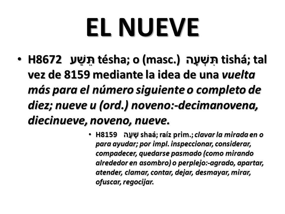 EL NUEVE H8672 תֵּשַׁע tésha; o (masc.) תִּשְׁעָה tishá; tal vez de 8159 mediante la idea de una vuelta más para el número siguiente o completo de diez; nueve u (ord.) noveno:-decimanovena, diecinueve, noveno, nueve.