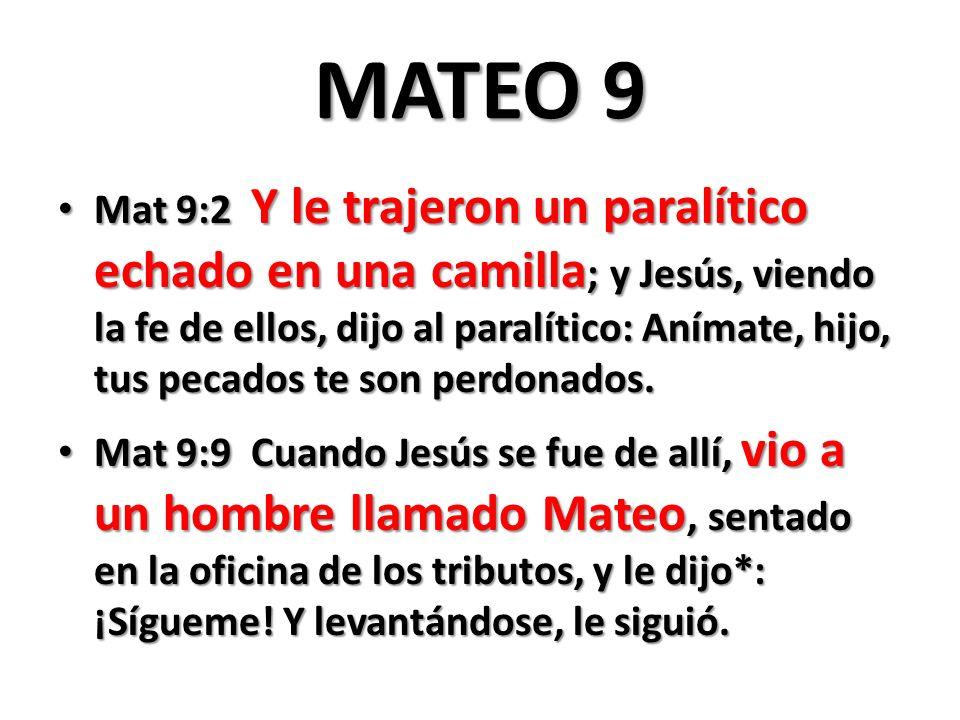 MATEO 9 Mat 9:2 Y le trajeron un paralítico echado en una camilla ; y Jesús, viendo la fe de ellos, dijo al paralítico: Anímate, hijo, tus pecados te son perdonados.