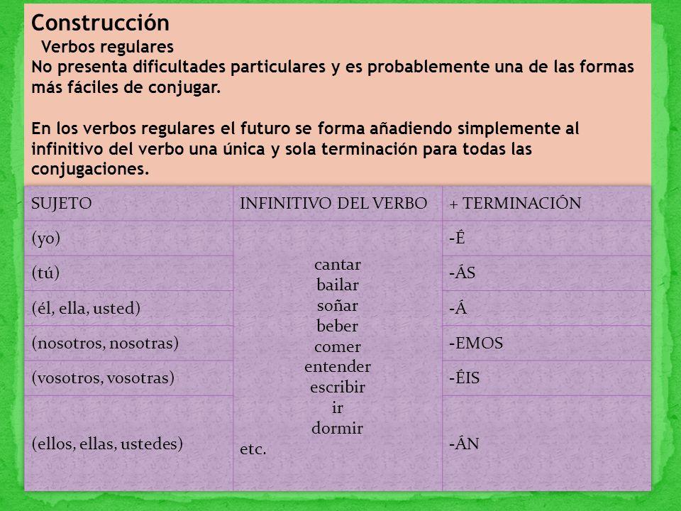 Construcción Verbos regulares No presenta dificultades particulares y es probablemente una de las formas más fáciles de conjugar. En los verbos regula