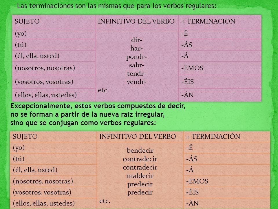 Las terminaciones son las mismas que para los verbos regulares: Excepcionalmente, estos verbos compuestos de decir, no se forman a partir de la nueva