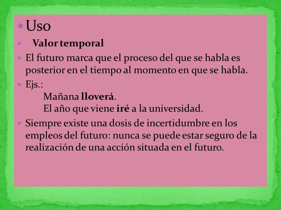 Uso Valor temporal El futuro marca que el proceso del que se habla es posterior en el tiempo al momento en que se habla. Ejs.: Mañana lloverá. El año