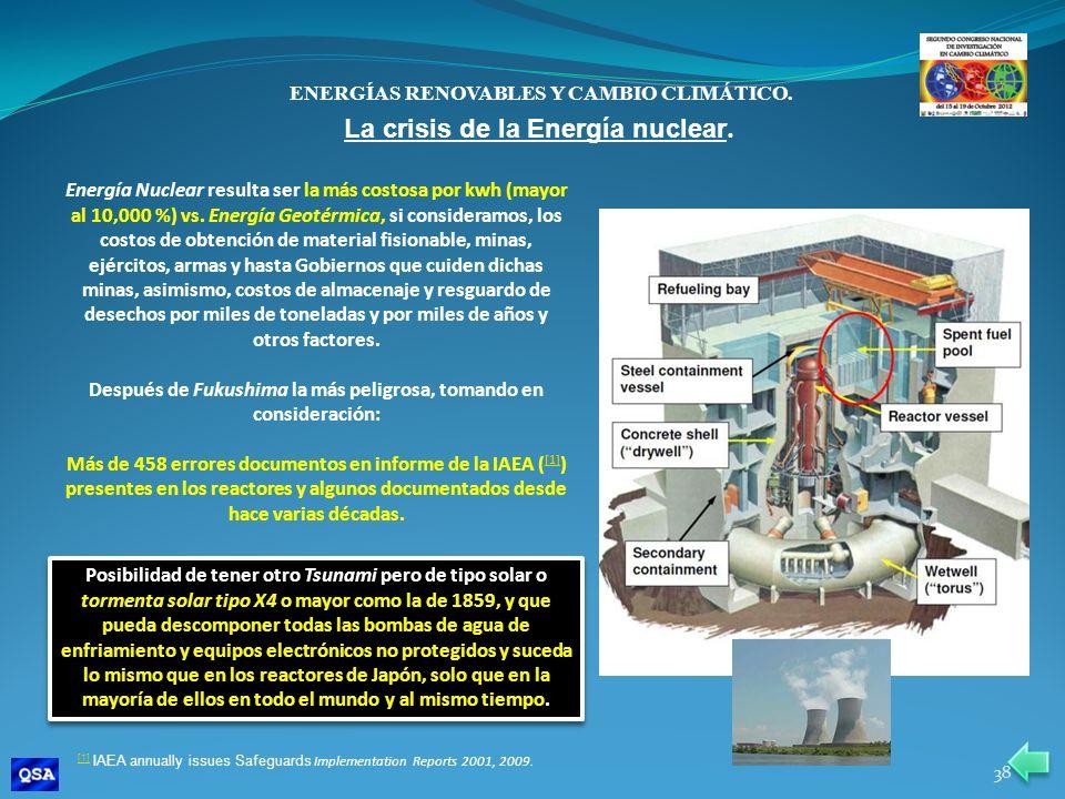 ENERGÍAS RENOVABLES Y CAMBIO CLIMÁTICO. Energía Nuclear resulta ser la más costosa por kwh (mayor al 10,000 %) vs. Energía Geotérmica, si consideramos