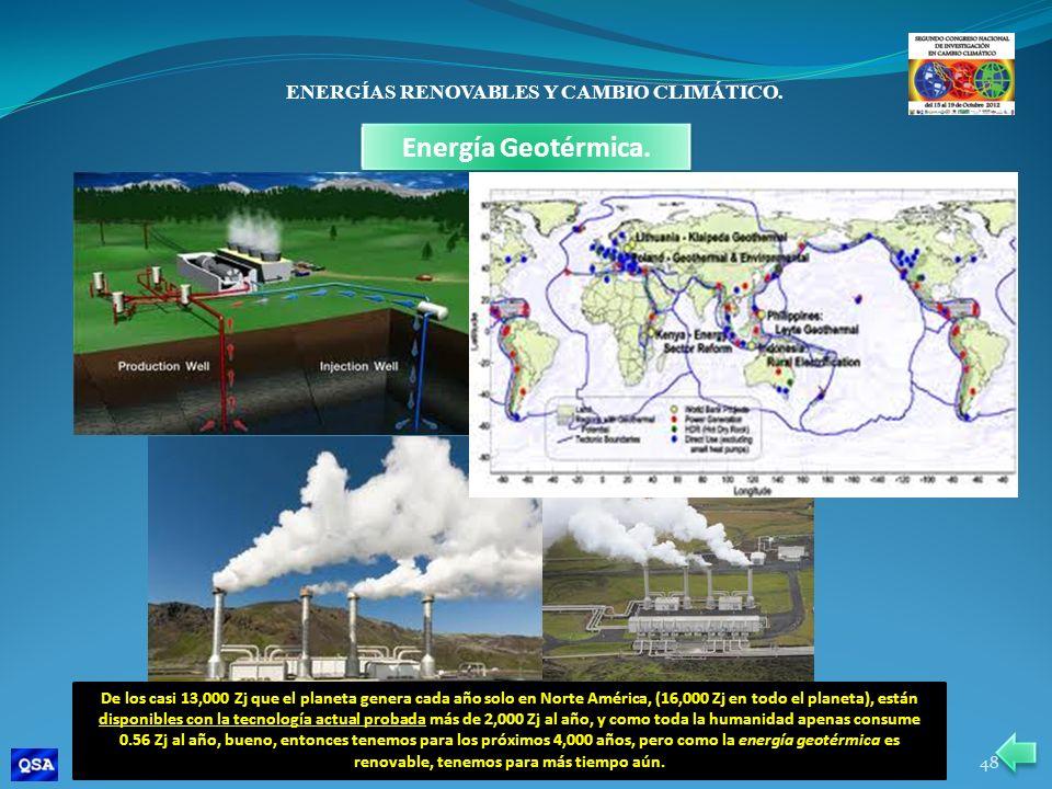 ENERGÍAS RENOVABLES Y CAMBIO CLIMÁTICO. Energía Geotérmica. De los casi 13,000 Zj que el planeta genera cada año solo en Norte América, (16,000 Zj en