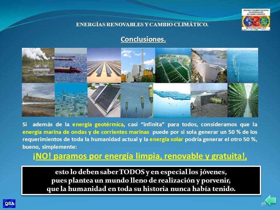 ENERGÍAS RENOVABLES Y CAMBIO CLIMÁTICO. Si además de la energía geotérmica, casi infinita para todos, consideramos que la energía marina de ondas y de