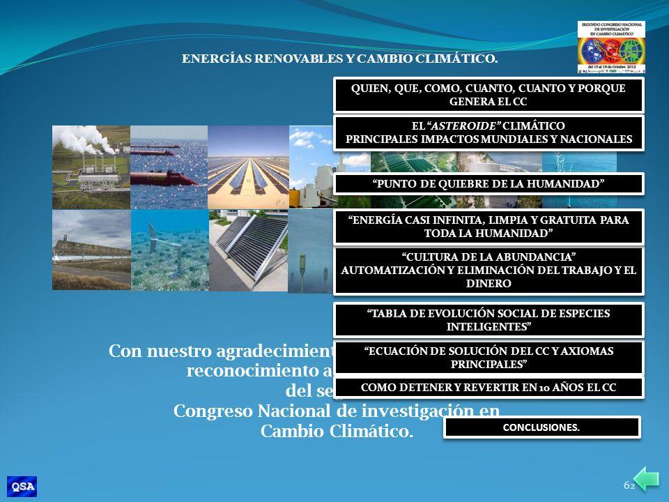 ENERGÍAS RENOVABLES Y CAMBIO CLIMÁTICO. Con nuestro agradecimiento por su amable atención y reconocimiento a los organizadores del segundo Congreso Na