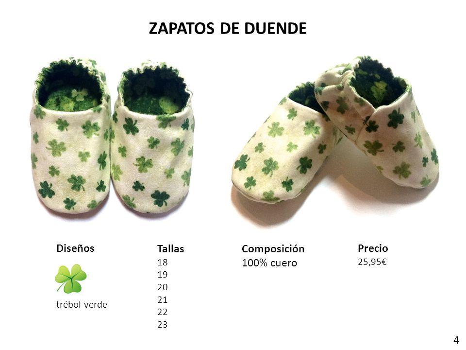 ZAPATOS DE DUENDE Tallas 18 19 20 21 22 23 Composición 100% cuero Precio 25,95 Diseños trébol verde 4