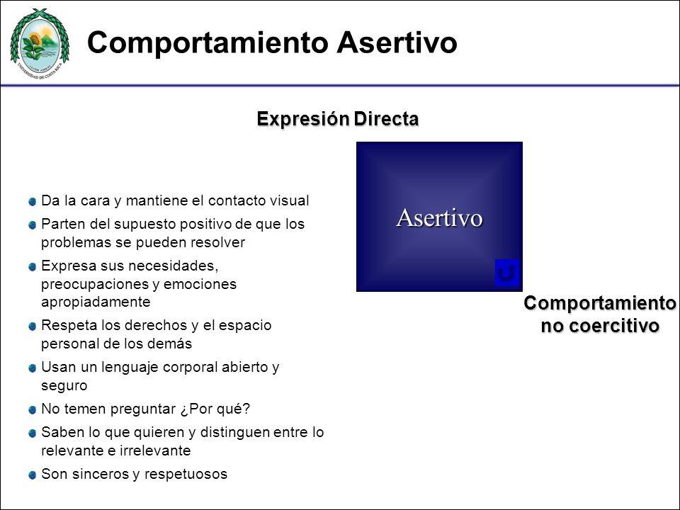 Expresión Directa Comportamiento no coercitivo Asertivo Da la cara y mantiene el contacto visual Parten del supuesto positivo de que los problemas se