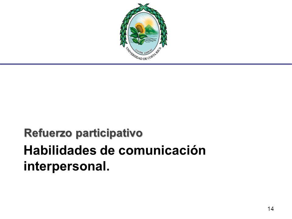 Habilidades de comunicación interpersonal. Refuerzo participativo 14