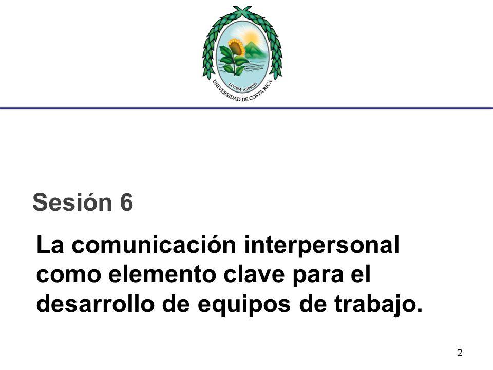 La comunicación interpersonal como elemento clave para el desarrollo de equipos de trabajo. Sesión 6 2