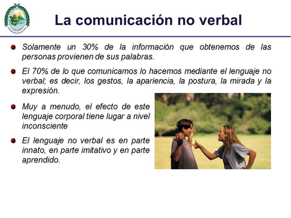 La comunicación no verbal Solamente un 30% de la información que obtenemos de las personas provienen de sus palabras. El 70% de lo que comunicamos lo