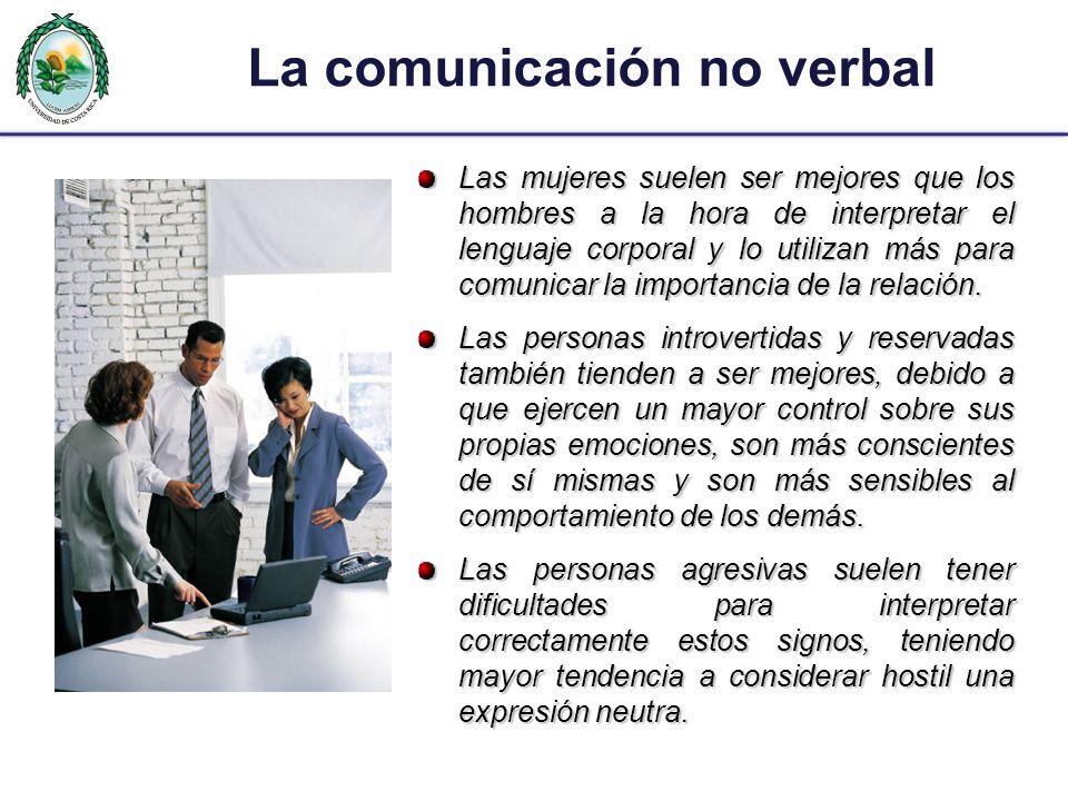 La comunicación no verbal Las mujeres suelen ser mejores que los hombres a la hora de interpretar el lenguaje corporal y lo utilizan más para comunica